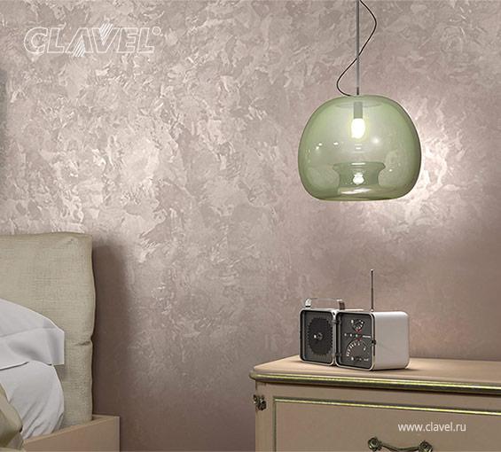 Спальня. Декоративное покрытие с эффектом мокрого шелка